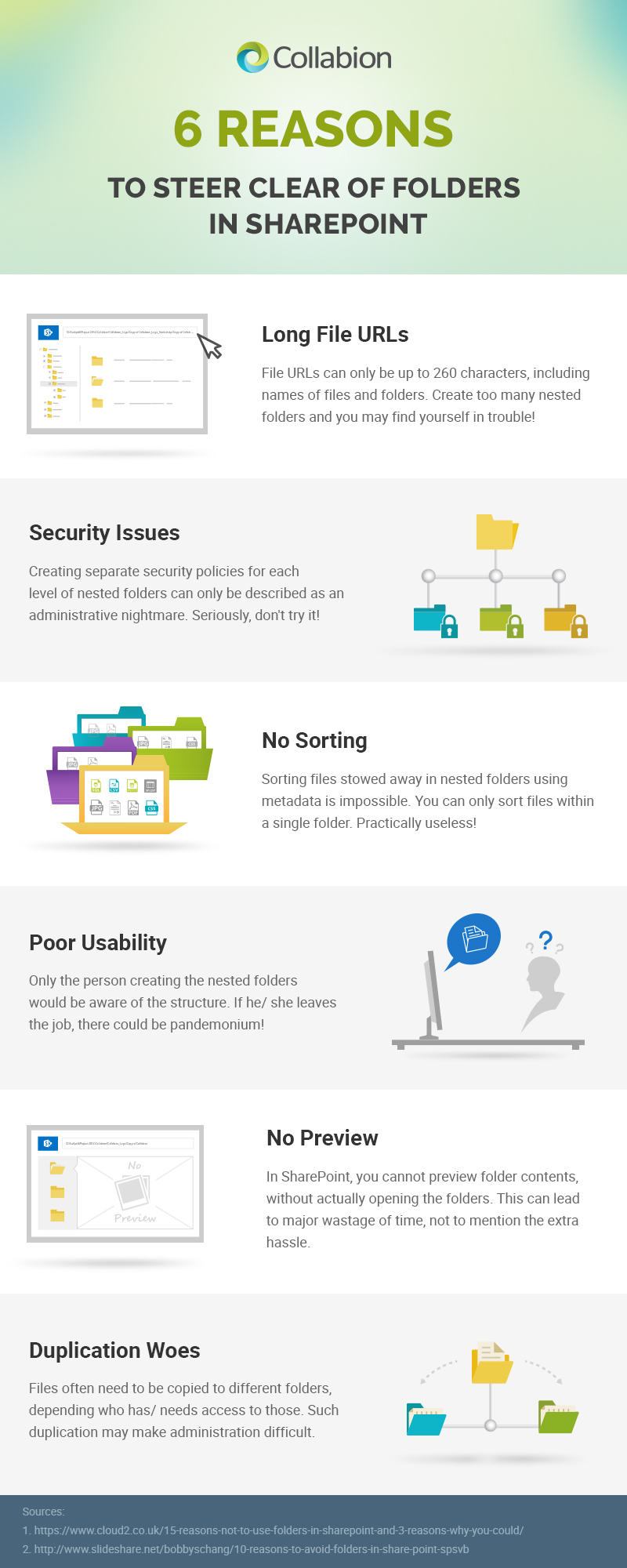 6 reasons to steer clear of folders in SharePoint infographic